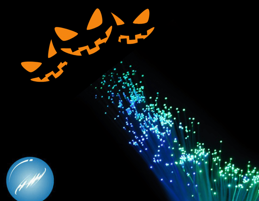 fiberoptic cable with jack o lantern faces
