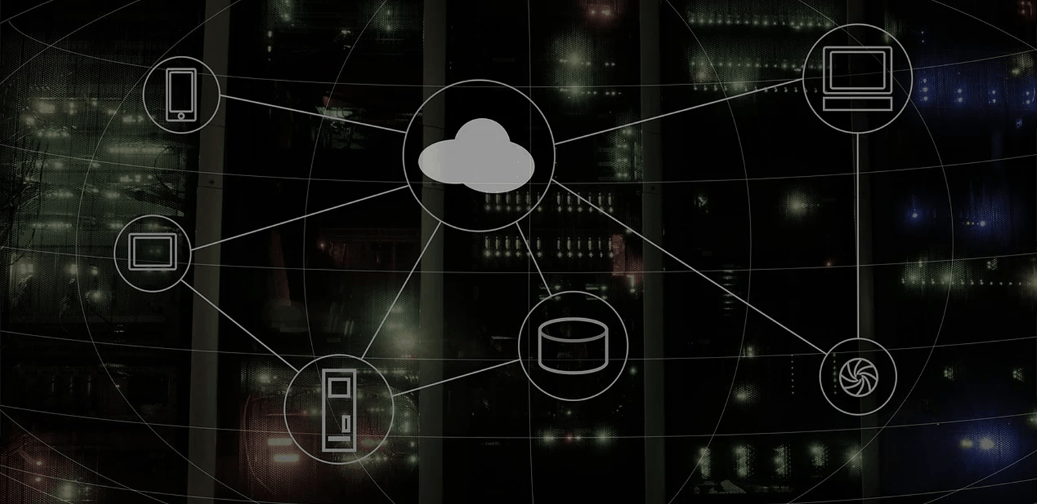 illustration of a cloud connected to various electronic devices