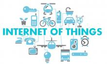 illustration of internet of things surrounded by various electronics and vehicles